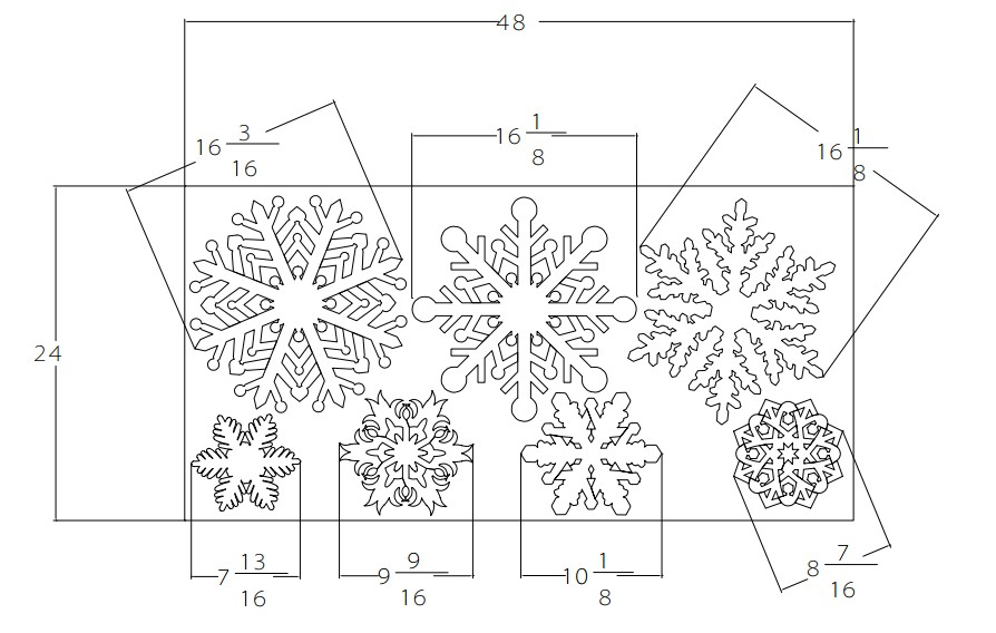 105 Jumbo Styrofoam Snowflakes, 15 each of 7 unique designs