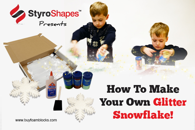 A tutorial on how to make Glitter Snowflakes out of Styrofoam